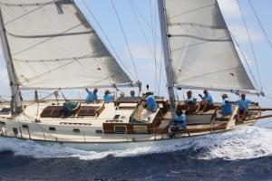 The great race crew on Desiderata during Antigua Classic Yacht Regatta 2014.