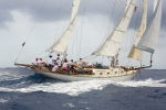 Classic yacht Desiderata racing in Antigua Classics 2014.