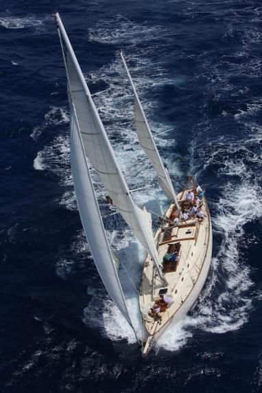 Aerial view of S/Y Desiderata racing in Antigua Classic Yacht Regatta 2014.