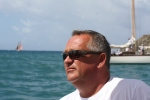 Owner/operator Stuart Armstrong on Desiderata during Antigua Classic Yacht Regatta.