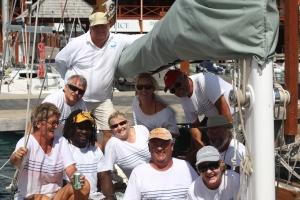 Crew on Desiderata during the Antigua Classic Yacht Regatta 2014.