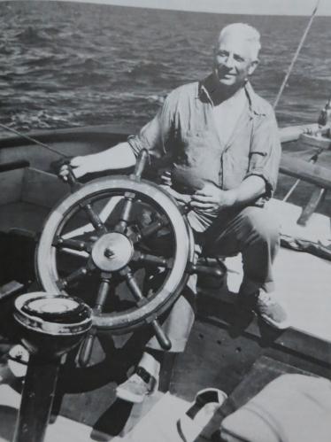 John Alden racing his Malabar VIII during the 1948 Bermuda race.
