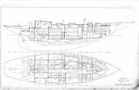 S/Y Desiderata's Original Cabin Plan.
