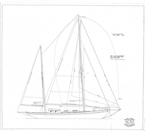 S/Y Desiderata's sail plan re-designed by Alden in 1948.