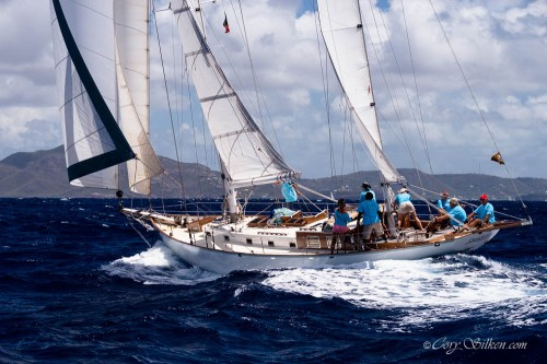 Desiderata sailing in the Old Road Race at the Antigua Classic Yacht Regatta. 2014